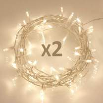 Koopower [ 2 Pack ] 50 LED Outdoor [Timer] Battery Fairy Lights on 5M String Cable - (8 Modes, 120 Hours of Lighting, Warm White)