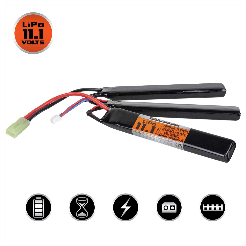 Valken Airsoft Battery - LiPo 11.1V 2000mAh 15/25c Triple Stick Style