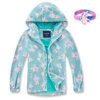 MGEOY Girls Rain Jackets Lightweight Waterproof Hooded Cotton Raincoats Windbreakers for Kids