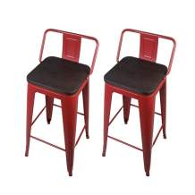 GIA 30-Inch Low-Back Bar Height Stool, 2-Pack, Red/Dark Wood Seat