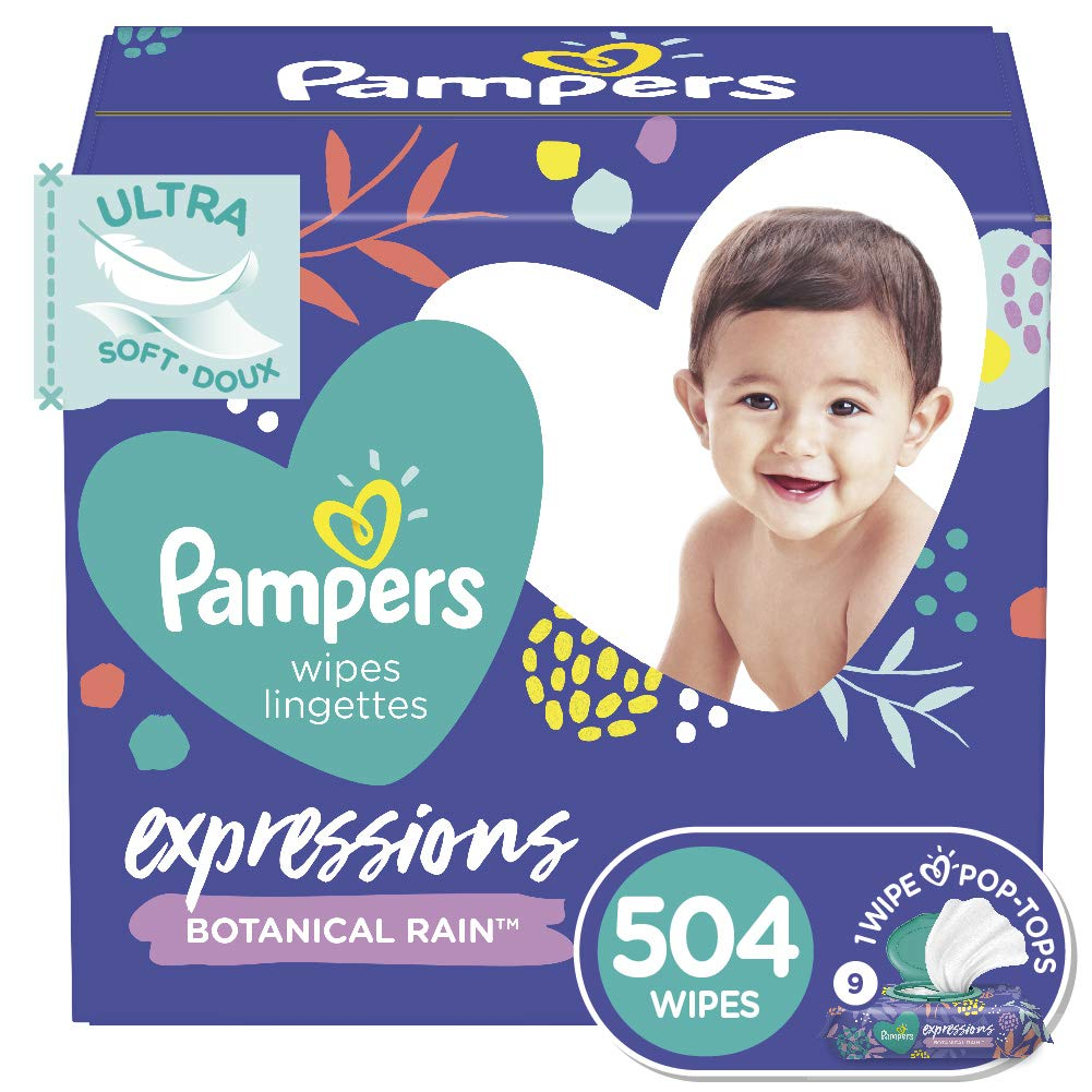 Baby Wipes, Pampers Expressions Baby Diaper Wipes, Hypoallergenic, Botanical Rain Scent, 9X Pop-Top Packs, 504 Count
