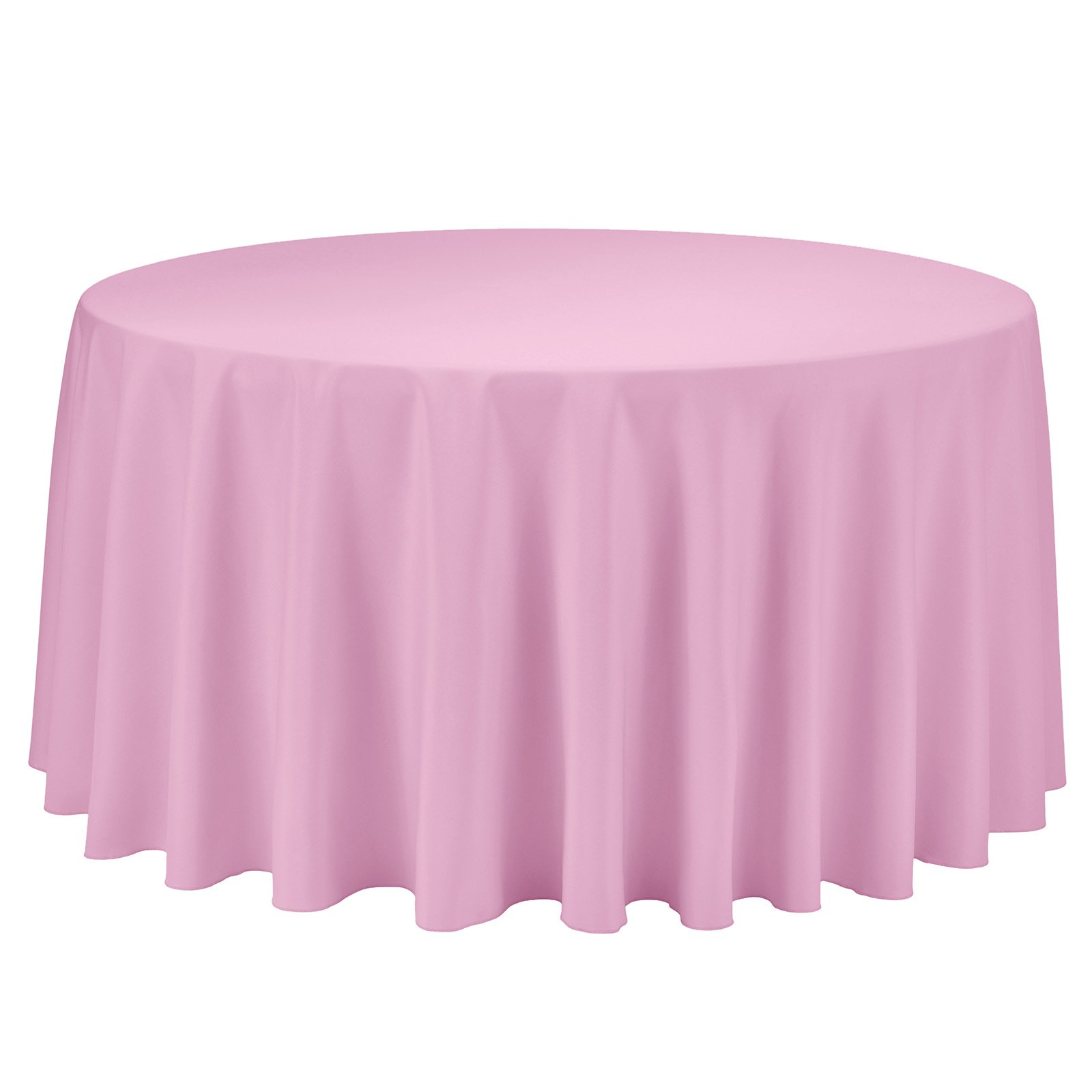 Remedios Round Tablecloth Solid Color Polyester Table Cloth for Bridal Shower Wedding Table – Wrinkle Free Dinner Tablecloth for Restaurant Party Banquet (Pink, 108 inch)
