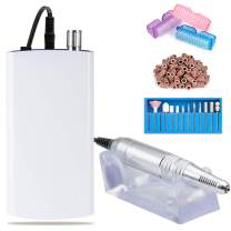 Professional 30000RPM Rechargeable Nail Drill Portable Electric Nail File Manicure Pedicure Machine with 11 in 1 Nail Drill Bits and Sanding Bands for Acrylic Gel Nails(White)