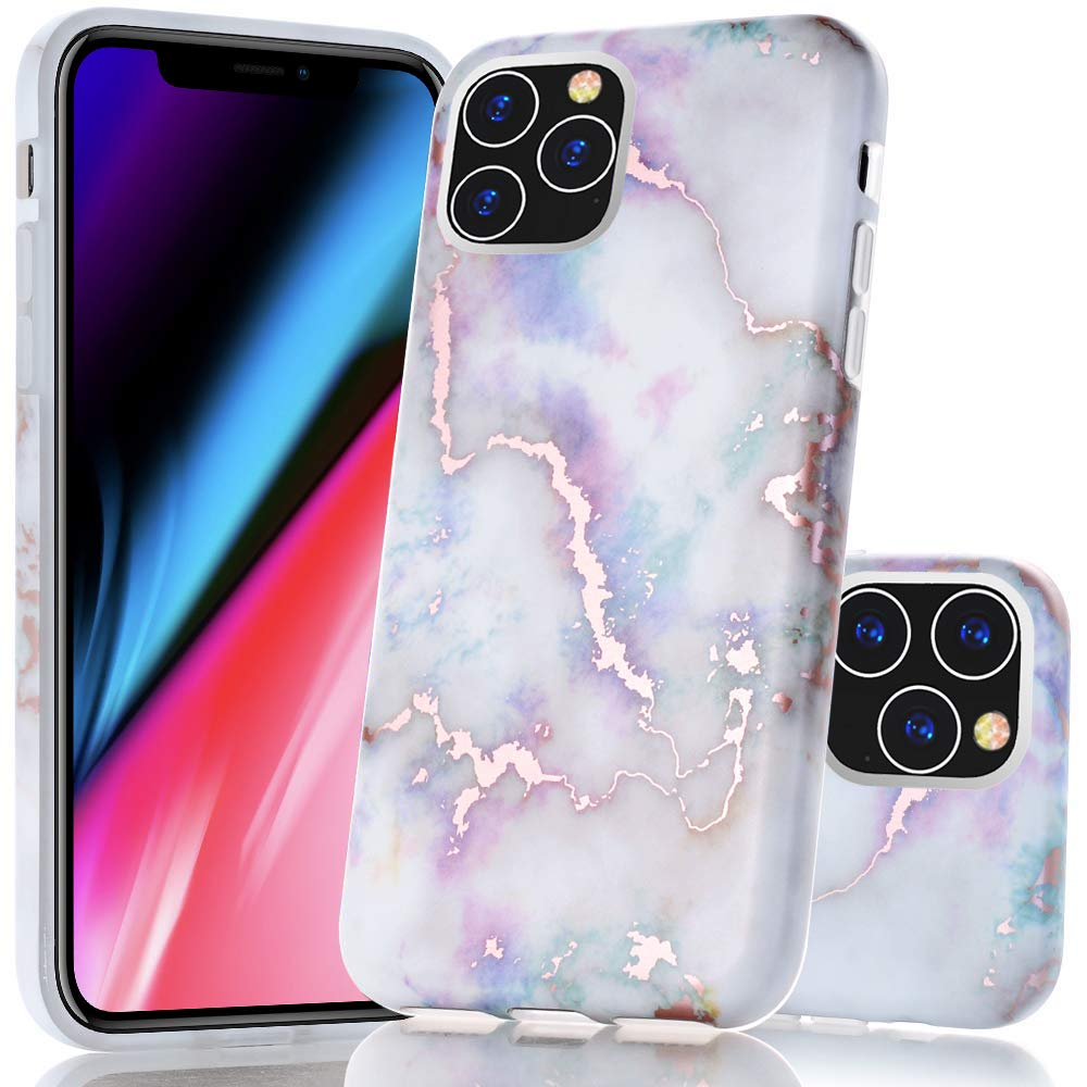 BAISRKE iPhone 11 Pro Max Case, Shiny Rose Gold Marble Design Bumper Matte TPU Soft Rubber Silicone Cover Phone Case for iPhone 11 Pro Max 6.5 inch 2019 - Colorful Marble