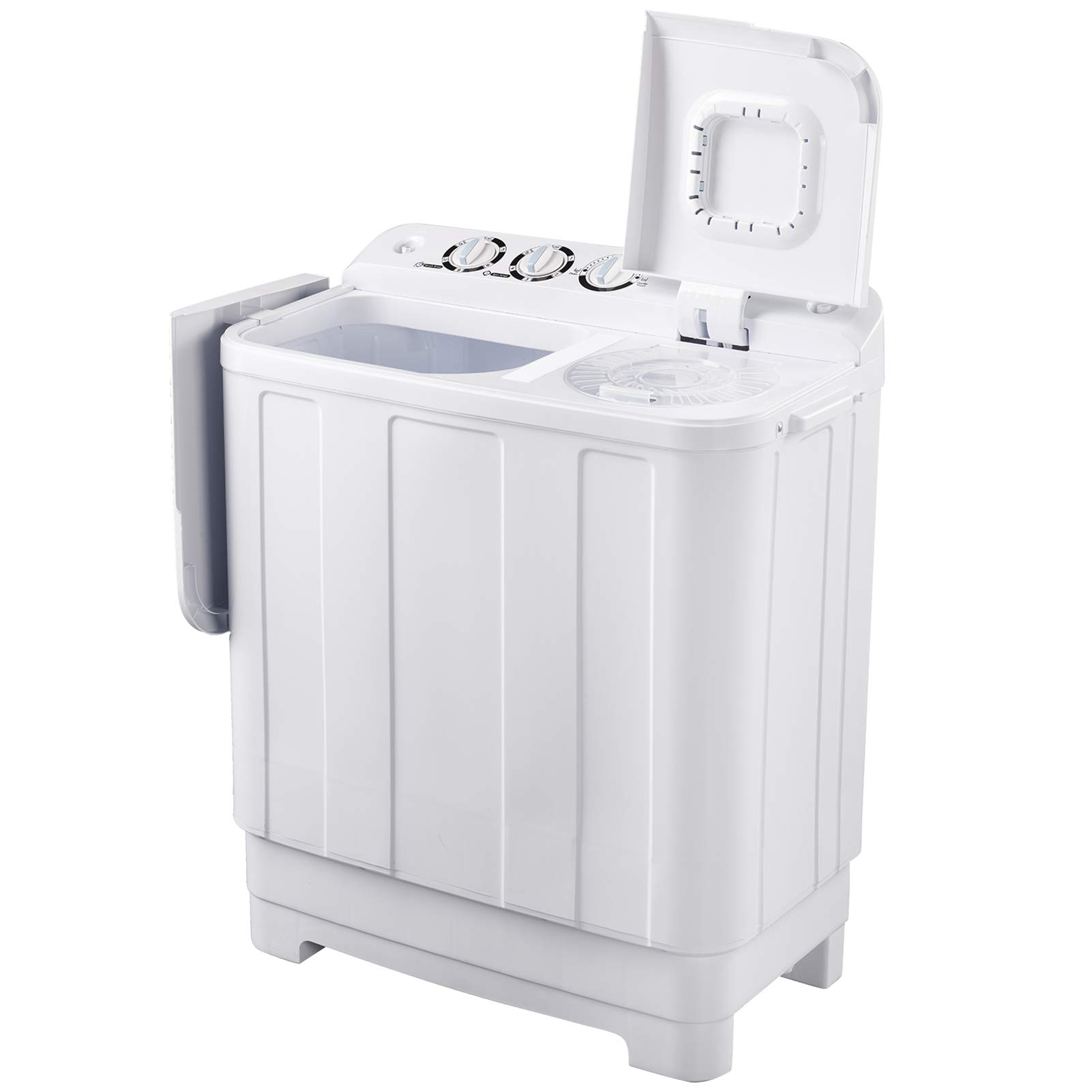 Frifer Twin Tub MIini Washing Machine, Compact Semi-Automatic 15 Lbs Washer and 10Lbs Dryer, Portable Washer Machine with Timer Control for Apartment, Dorms, RVs, Camping, White