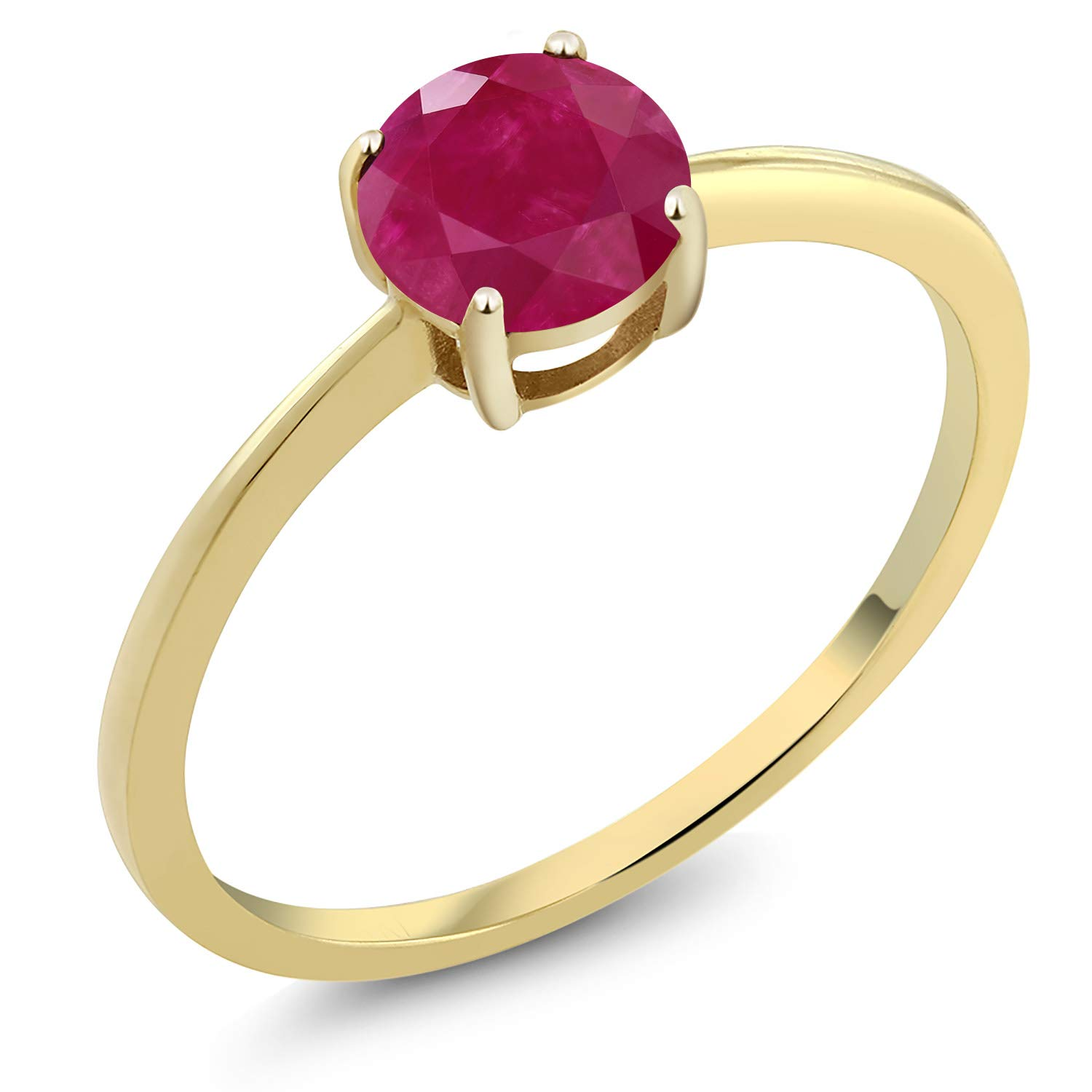 Gem Stone King 1.00 Ct Round Red Ruby 10K Yellow Gold Solitaire Engagement Ring (Available 5,6,7,8,9)