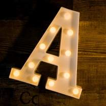 Foaky LED Letter Lights Sign Light Up Letters Sign for Night Light Wedding Birthday Party Battery Powered Christmas Lamp Home Bar Decoration (A)