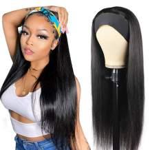 Straight Headband Wig Human Hair Wigs for Black Women Glueless None Lace Front Wigs Headband Half Wig Human Hair 10A Brazilian Virgin Hair Machine Made Headband Wig 150% Density 24 Inch