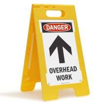 """SmartSign """"Danger - Overhead Work"""" Folding Floor Sign   25"""" x 12"""" Plastic"""