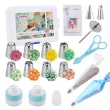 PROKITCHEN Russian Piping Tips Set 38pcs Cake Decorating Kit with storage case,8 Numbered icing nozzles-2 Leaf Tips - 3 Couplers -20 Icing Bags -1 Pastry Bag,User Guide