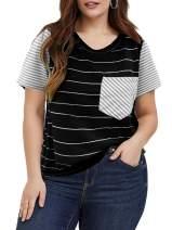 Yskkt Womens Plus Size Raglan Striped Short Sleeve T Shirt Summer Loose Baseball Tees