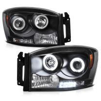 [For 2006-2008 Dodge RAM 1500 2500 3500] CCFL Halo Ring Black Projector Headlight Headlamp Assembly, Driver & Passenger Side