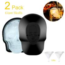3D Skull Shaped Ice Cube Trays Large Reusable Silicone Ice Molds with 2 Funnels For Big Mouth Cup, Whiskey, Cocktails, Juice Beverages, Bourbon, Beer, Party Favors