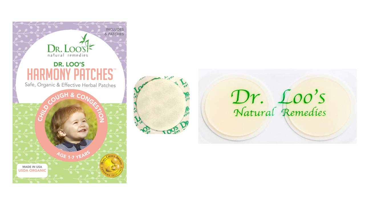 Dr. Loo's NATURAL REMEDIES Organic Herbal Sticker Patches, Cough and Congestion, 1-7 Years Old, 12 Patches