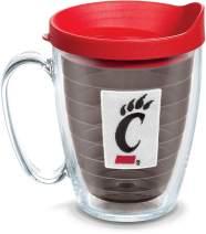 Tervis 1099280 Cincinnati Bearcats Logo Tumbler with Emblem and Red Lid 16oz Mug, Quartz
