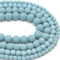 """Oameusa 10mm Blue Lava Volcanic Stone Gemstone Round Loose Beads Agate Beads for Jewelry Making 1 Strand 15"""" 1 Strand per Bag-Wholesale"""