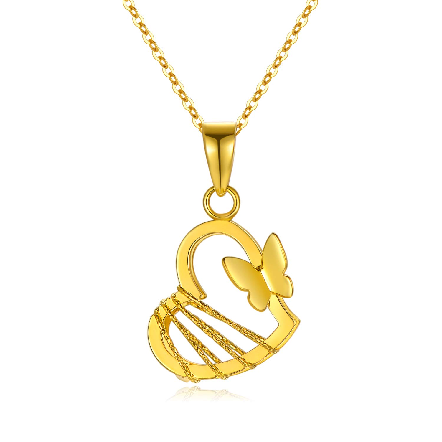 SISGEM 18k Yellow Gold Burtterfly Heart Necklace for Women, Real Gold Love Jewelry Gifts for Her, 18""
