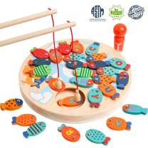 Magnetic Wooden Fishing Game Toy for Toddler, Alphabet Fish Montessori Letters Cognition Preschool Board Games for 2 3 4 Year Old Girls Boys Kid Birthday Learning Education Math Toys with Magnet Poles