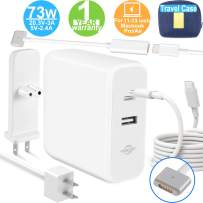 Mac Book Charger Mac Book Air Charger, Type C 73W Power Adapter Charger for Mac Book Air 2018 Mac Book Pro 2017/2018 with 60W Magsafe 2 T-Tip for Mac book Air Released after Mid 2012 more USB C Device