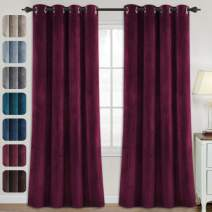 Velvet Curtains for Bedroom-Velvet Curtains 84 Inches Room Darkening Super Soft Luxury Velvet Textured Drapes Thermal Insulated Grommet Panels for Living Room(2 Panels, 52 x 84 Inch, Burgundy)