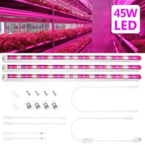 45W led Grow Light Tube with 448Leds, T8 Plant Light for Indoor Plant Hydroponic Garden Greenhouse, Grow Light Bar with US Plug + Switch Power Cable + Extended 50CM Connect Cables [3 Pack]
