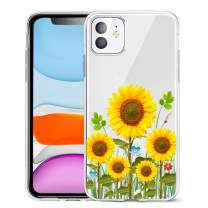 Unov Case Clear with Design for iPhone 11 Case Slim Protective Soft TPU Bumper Embossed Pattern Cover 6.1 Inch (Sunflower Blossom)