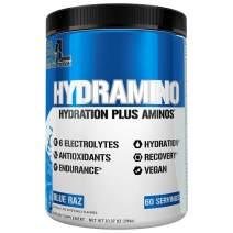 HYDRAMINO Complete Hydration Multiplier, All 6 Electrolytes, Vitamin C & B, Fluid Boosting Aminos, Coconut Water, Endurance & Recovery, Immunity Support, Antioxidants, 0 Sugar, 60 Serve, Blue Raz