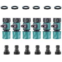 SANCEON Garden Hose Quick Connector with Shut Off Valve(6 Sets), 3/4 inch Quick Connect Fittings with Ball Valve, Easy Connect and Quick Release Adapters, Male and Female(6 Pairs/12 Pcs)