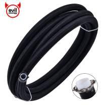 "EVIL ENERGY 10FT 10AN 5/8"" PTFE Fuel Line E85 Tube Nylon Stainless Steel Braided Universal Black (12.95mm 1/2""ID)"