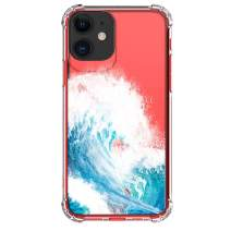 """HUIYCUU Case for iPhone 11 Case 6.1"""", Shockproof Anti-Slip Cute Glitter Clear Design Crystal Sea Pattern Slim Fit Soft Bumper Girl Women Cover Compatible with iPhone 11 XI, Wave"""