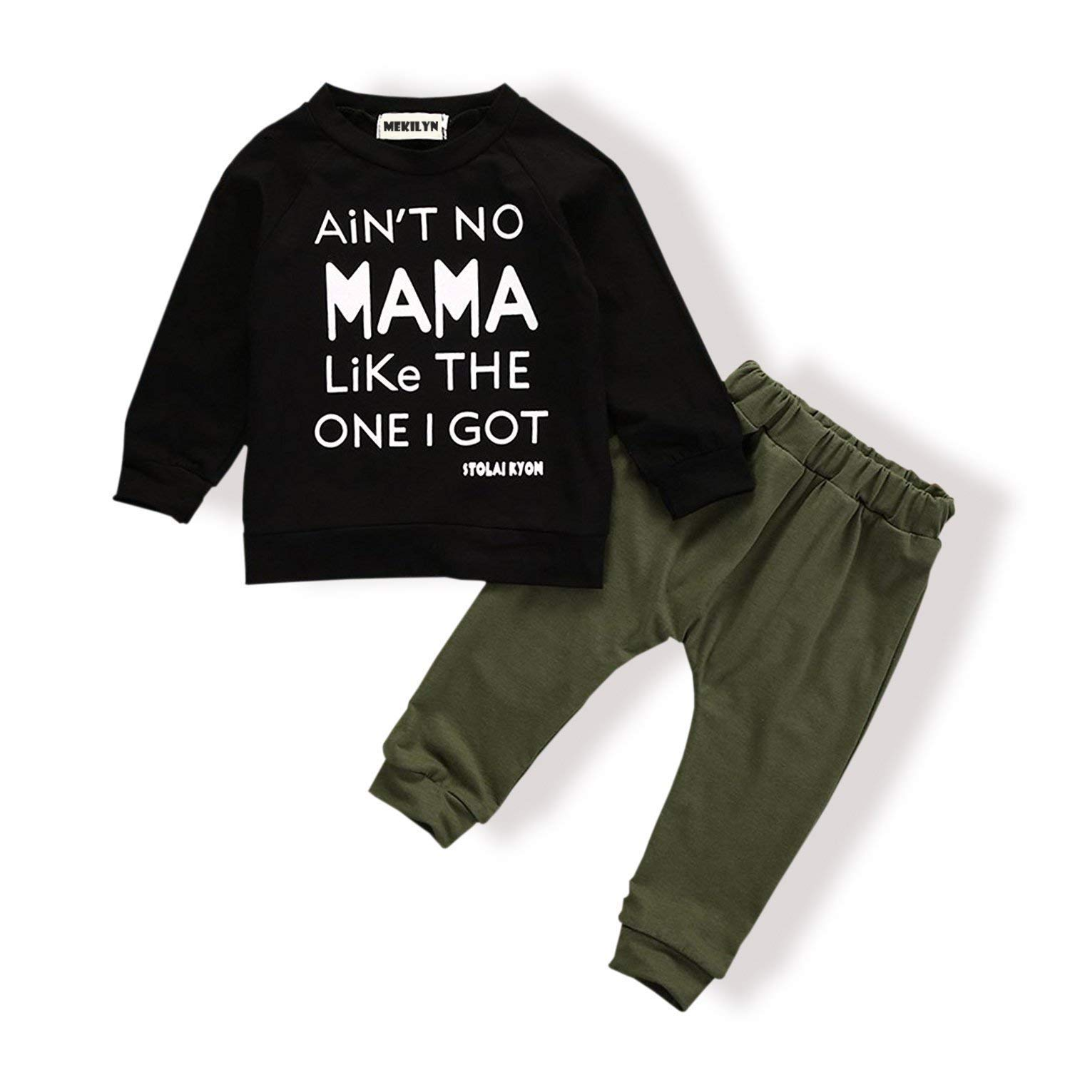 2PCs Baby Deer Print Hoodies with Pocket Top + Striped Long Pants Autumn Outfit Set