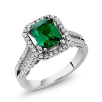 Gem Stone King 925 Sterling Silver Green Simulated Emerald Women's Ring (2.78 Ct Emerald Cut (Available 5,6,7,8,9)
