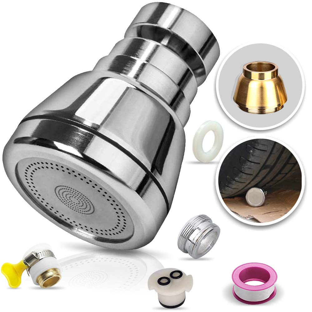 Upgraded Swivel Kitchen Sink Faucet Aerator Solid Copper High Pressure Faucet Sprayer Head Replacement Anti Splash Faucet Nozzle Filter Water Saving 3 Modes Adjustable Short 22inch