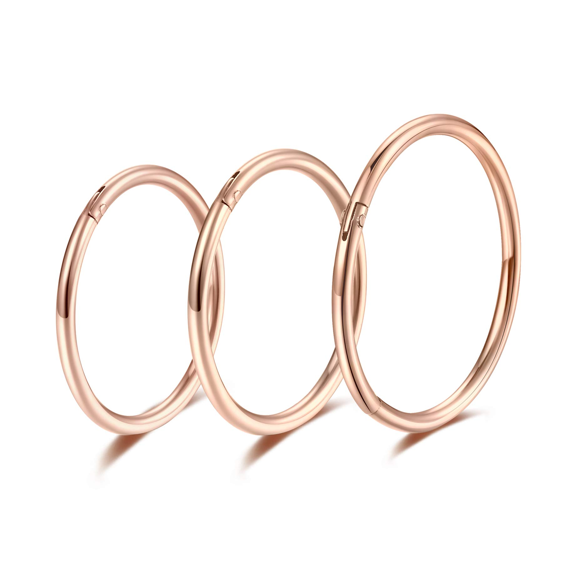 Rose Gold Hinged 20g 18g 16g Nose Rings Hoops 6mm 8mm 10mm 12mm 14mm 16mm Septum Ring Clicker Cartilage Helix Hoop Earrings Set