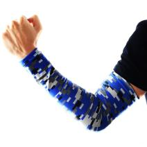 COOLOMG Youth Anti-Slip Arm Sleeves Cover Skin UV Protection Sports Adult, Digital Blue, X-Large