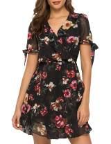 Hellozebra Women's Chiffon Floral Wrap V-Neck Ruffle Mini Dress Beach Sundress(Black,S)