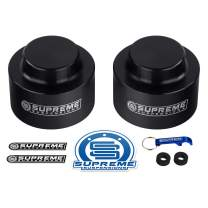 "Supreme Suspensions - Rear Leveling Kit for 2003-2010 Hummer H2 2"" Rear Lift T9 Aircraft Billet Aluminum Coil Spring Spacers 4WD (Black)"