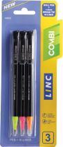 Linc Combi (pen+highlighter) 3 pk - Black