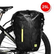 WATERFLY 25L Bike Bag Bike Pannier Bag Waterproof Bike Saddle Bag Extensible Bicycle Rear Seat Bag Shoulder Bag with Rain Cover for Riding Cycling