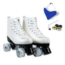 Detigsia Roller Skates for Women, Women's Leather Roller Skates, Shiny Double-Row Roller Skates for Girls Unisex with Tools and Accessories