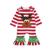 GRNSHTS Baby Girls Boys Christmas Outfits Toddler Kids Stripe Santa Romper Jumpsuit Sleepwear Pajamas Clothes
