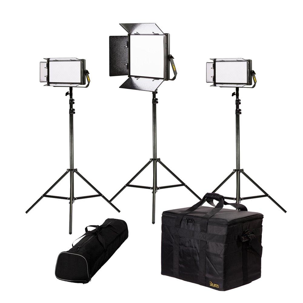 Ikan Lyra (3X) Bi-Color 3200K-5600K Soft Panel (1) 1 X 1 (2) 1 X Half Studio & Field LED Lighting Kit, Includes Barn Doors, Stands and Case, Bi-Color Adjustable (LB-1F2H) - Black
