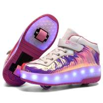 Ufatansy Roller Shoes Boys Girls Skate Shoes USB Charging LED Light Shoes for Kid Removelable Wheel Sport Sneakers(12 M US=CN29,Pink)