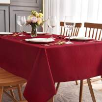 maxmill Jacquard Table Cloth Waving Pattern Water Proof Wrinkle Free Heavy Weight Soft Tablecloth Decorative Fabric Table Cover for Outdoor and Indoor Use Rectangular 60 x 104 Inch Red