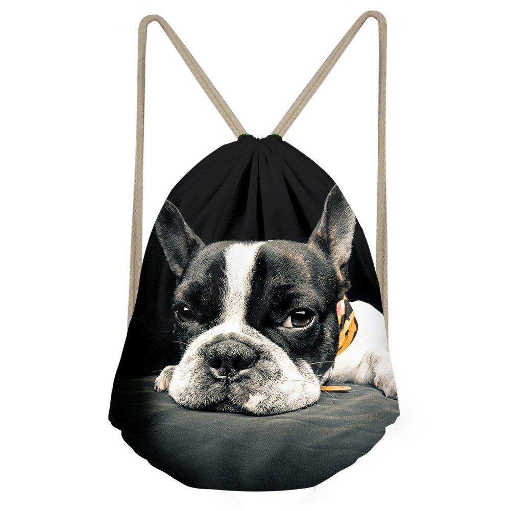 Amzbeauty Cute Dog Drawstring Bag Backpack Sport Gym Travel Sack Bag Rucksack Gift for Women Man Boys Girls Kids