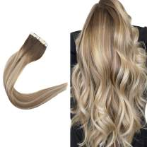 Easyouth Remy Hairpiece Tape for Extensions Balayage Real Human Hair Darker Brown Fading to Ash Brown Highlighted Blonde 12inches 60g Tape in Hair Extensions Glue in Hair