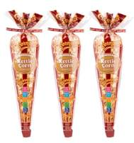 Popcornopolis Gourmet Popcorn - 3 Kettle Corn Cones - Small Storage Space Friendly & Great Stocking Stuffers! 2.61oz total