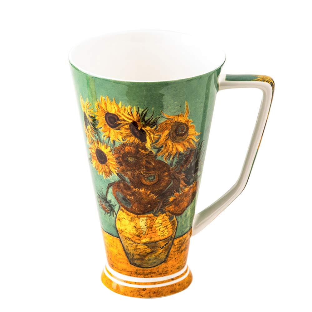 Erreloda Ceramic Mug Van Gogh Series Fine Bone China Large Capacity Coffee Cup, Tea Cup with Spoons Perfect Birthday Holiday Commemorative Gift (Sunflowers)