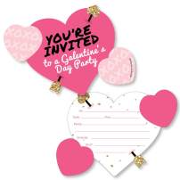 Big Dot of Happiness Be My Galentine - Shaped Fill-in Invitations - Galentine's and Valentine's Day Party Invitation Cards with Envelopes - Set of 12