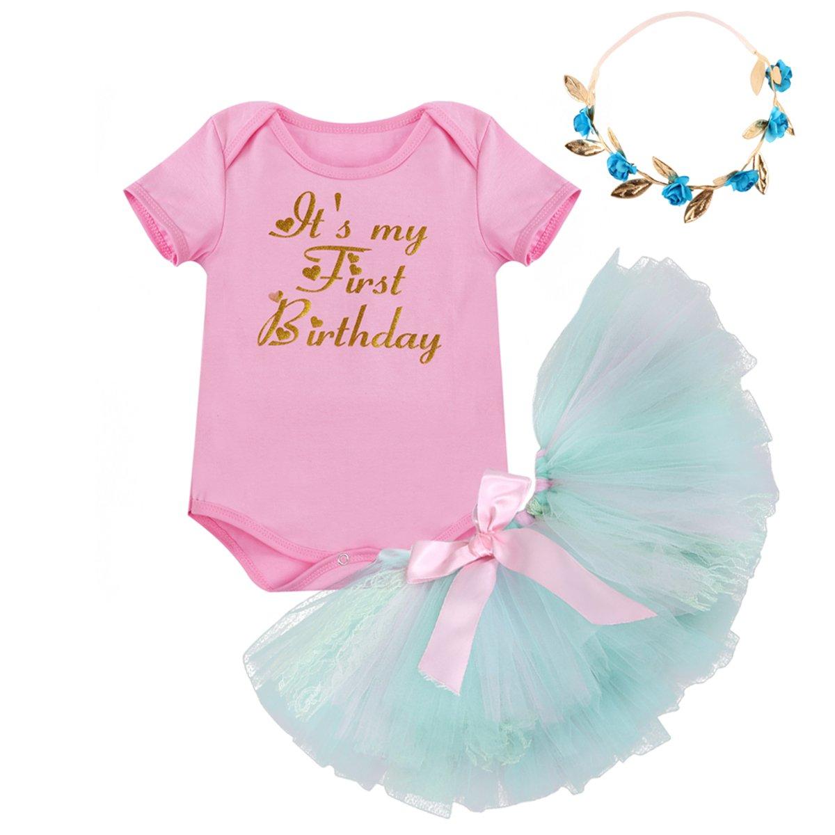 Baby Girls 3PCs Sets My 1st Birthday Cake Smash Outfits Unicorn Crown Tutu Romper Dress Short Bodysuit Headband